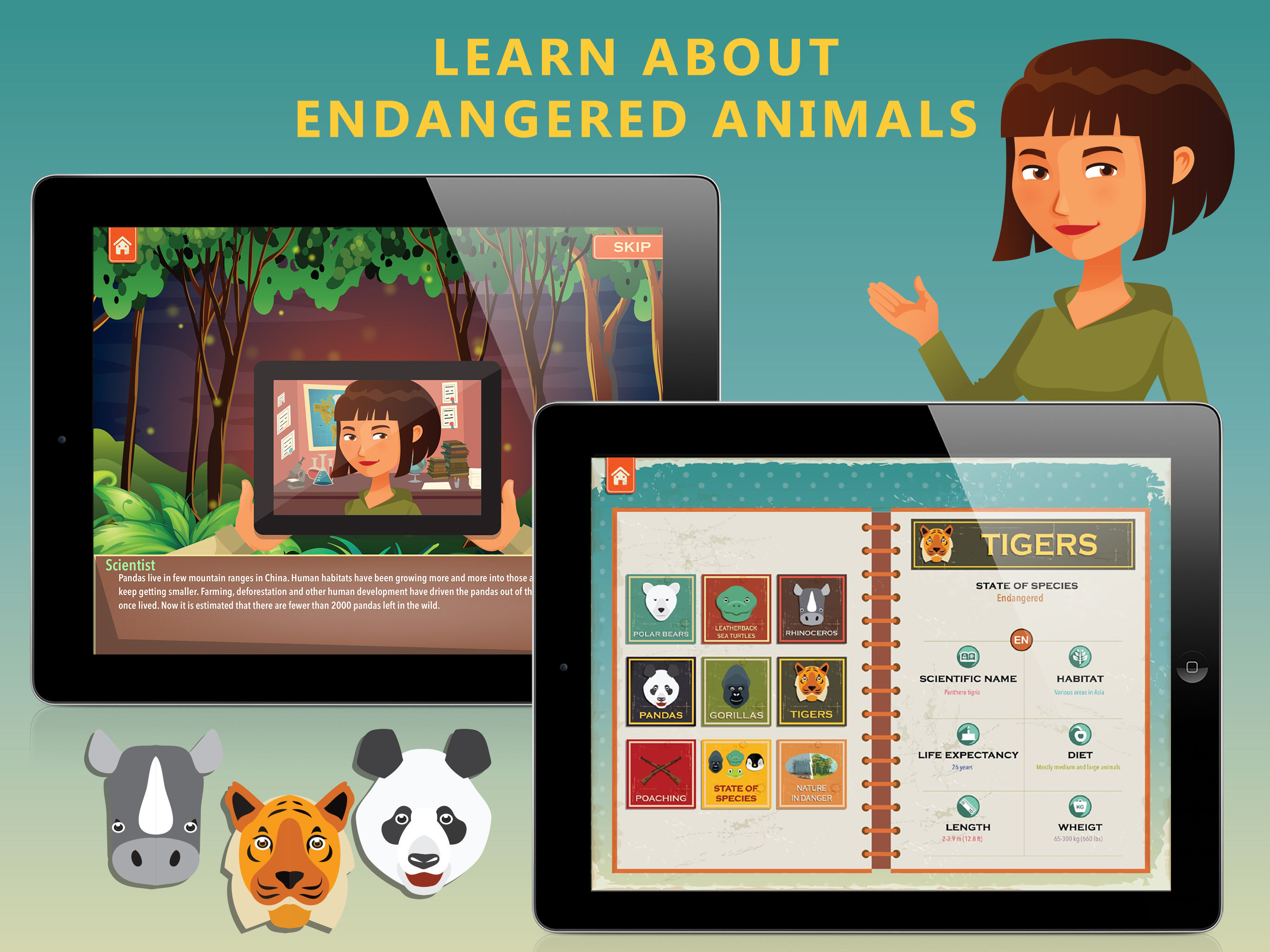 Endangered Animals - Practise statistics - New educational iPad app Image
